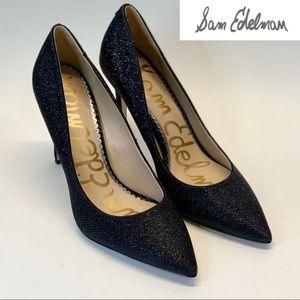 SAM EDELMAN WOMEN'S HAZEL PUMP Black Glam Mesh 7M